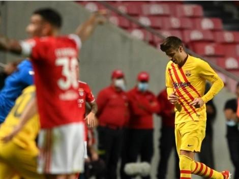 La mala media hora de Piqué ante Benfica: casi lo expulsan y fue reemplazado