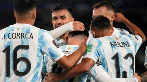 Argentina players celebrate after scoring a goal