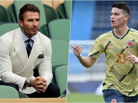 David Beckham se encuentra con James Rodríguez y fanáticos lo piden para Inter Miami