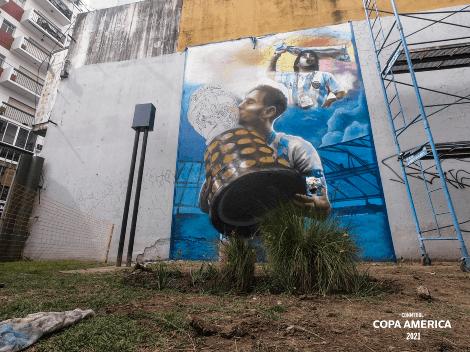 El imponente mural de Messi, Maradona y la Copa América en plena Ciudad de Buenos Aires