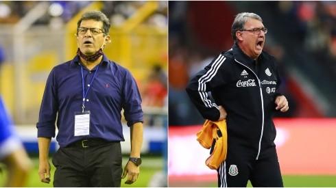 Hugo Perez, coach of El Salvador (left) and Tata Martino, coach of Mexico