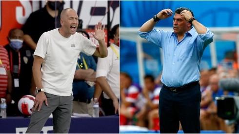 Gregg Berhalter of the USA (left) and Luis Fernando Suarez of Costa Rica