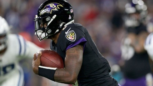 Lamar Jackson against the Indianapolis Colts in the last games of the Week 5, an amazing performance by Jackson to comeback and win the game. By Rob Carr