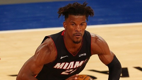 Miami Heat star Jimmy Butler in action during the 2020-21 NBA season.