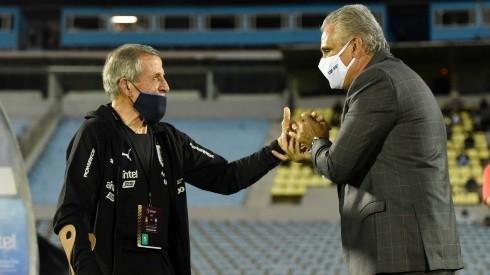 Uruguay manager Oscar Washington Tabarez (left) and Brazil coach Tite.