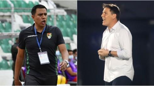 Cesar Farias of Bolivia (left) and Eduardo Berizzo of Paraguay