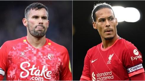 Caglar Soyuncu of Leicester (left) and Edinson Cavani of Manchester United (right)