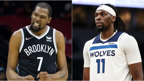 Kevin Durant of the Brooklyn Nets (left) and Naz Reid of the Minnesota Timberwolves (right)