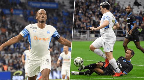 Didier Drogba y Samir Nasri en el partido a beneficio de Olympique de Marsella.
