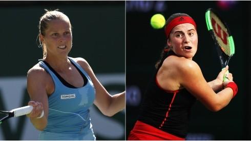 Shelby Rogers of the USA (left) and Jelena Ostapenko of Latvia