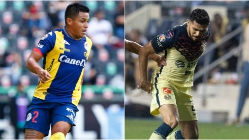 Juan Castro of Atletico San Luis (left) and Henry Martin of Club America