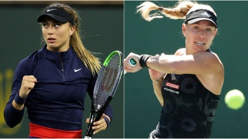 Paula Badosa of Spain (left) and Angelique Kerber of Germany (right)