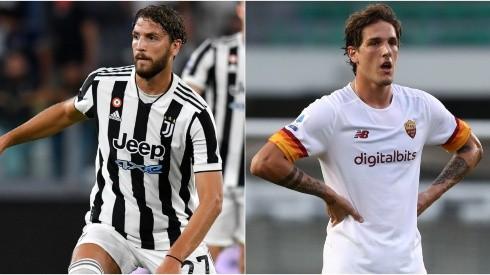 Manuel Locatelli of Juventus (left) and Nicolo Zaniolo of Roma (right)