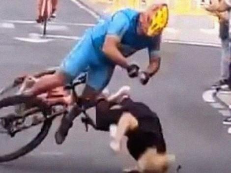 Como en el Tour de France: una espectadora se cruzó en una carrera en Islas Canarias y provocó un grave accidente