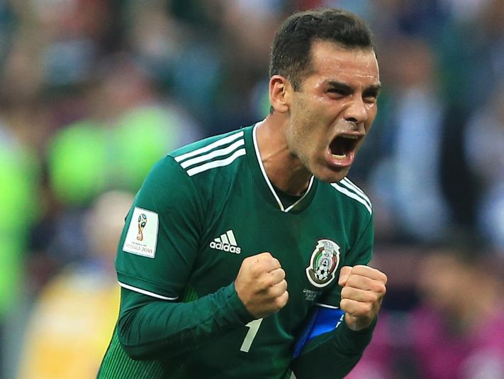 Mexico Rafael Márquez celebrates after beating Germany in the 2018 World Cup.
