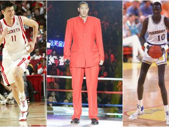 Yao Ming, Sun Mingming and Manute Bol (Getty).
