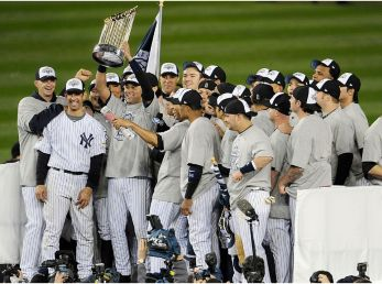 New York Yankees celebrate their 27th World Series title. (Getty)