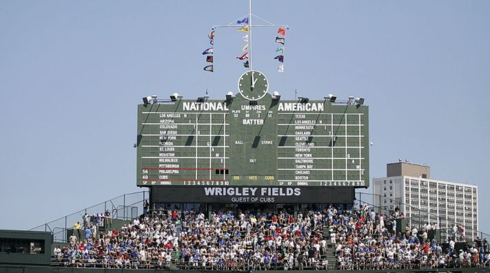 Scoreboard from a Cubs-Phillies game at Wrigley Field. (Getty)