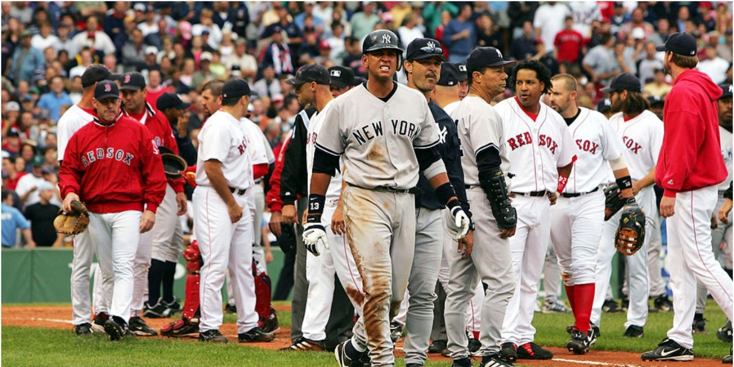 Álex Rodríguez of the New York Yankees after a brawl with the Boston Red Sox. (Getty)