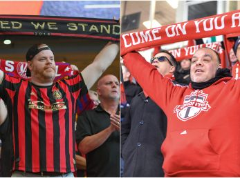 Fans of Atlanta United (left) and Toronto FC (Getty).