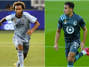 Gianluca Busio of Sporting Kans (left) and Hassani Dotson of Minnesota United (right). (Getty)