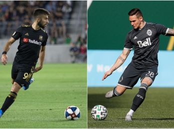 LAFC vs Vancouver Whitecaps: Diego Rossi of LAFC (right) and Jakob Nerwinski of the Whitecaps (Getty).