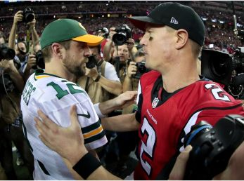 Aaron Rodgers and Matt Ryan will face off in a shootout. (Getty)