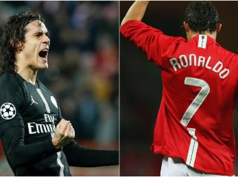 Edinson Cavani while playing for Paris Saint-Germain (left) and Cristiano Ronaldo while featuring for Manchester United (right). (Getty)