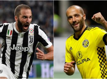 Gonzalo Higuain while playing for Juventus (left) and Federico Higuain during his time at Columbus Crew (right). (Getty)