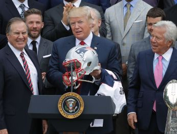 Donald Trump with Robert Kraft, two close friends. (Getty)