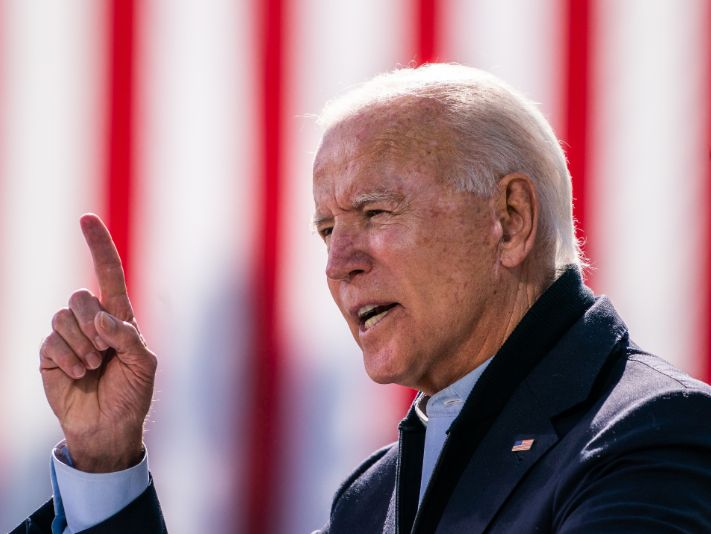 Joe Biden has received support from members of the NFL family. (Getty)