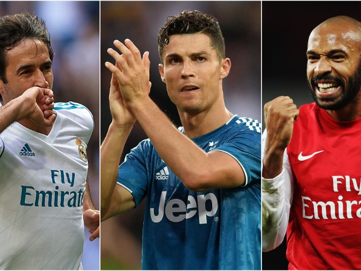 Raul (left), Cristiano Ronaldo (center) and Thierry Henry (Getty).