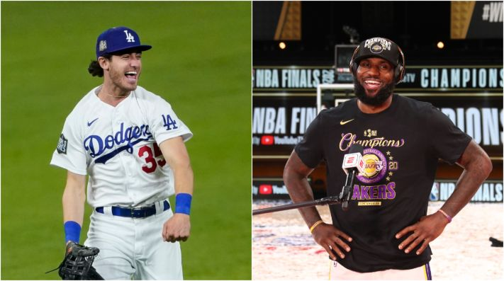 Cody Bellinger (left) is a big admirer of LeBron James (right). (Getty)