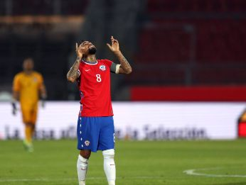 Arturo Vidal celebrates after scoring. (Getty)