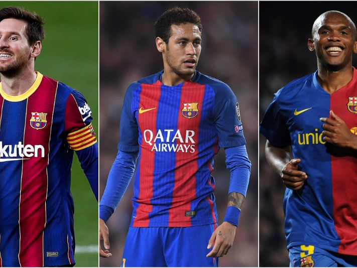 Lionel Messi (left), Neymar (centre), and Samuel Eto'o (right). (Getty)