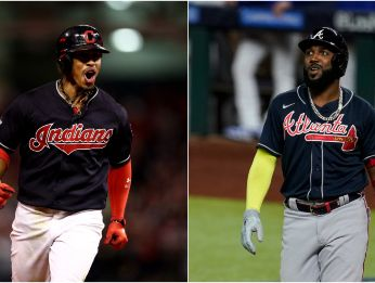 Indians' Francisco Lindor (left) and Braves' Marcell Ozuna (right). (Getty)