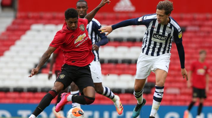 Marcus Rashford of Manchester United (left) in action during a practice match between Manchester United and West Bromwich. (Getty)