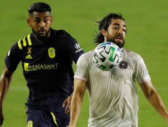 Rodolfo Pizarro of Inter Miami CF (right) controls the ball against Anibal Godoy of Nashville SC (Getty).