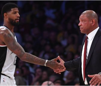 Paul George & Doc Rivers. (Getty)