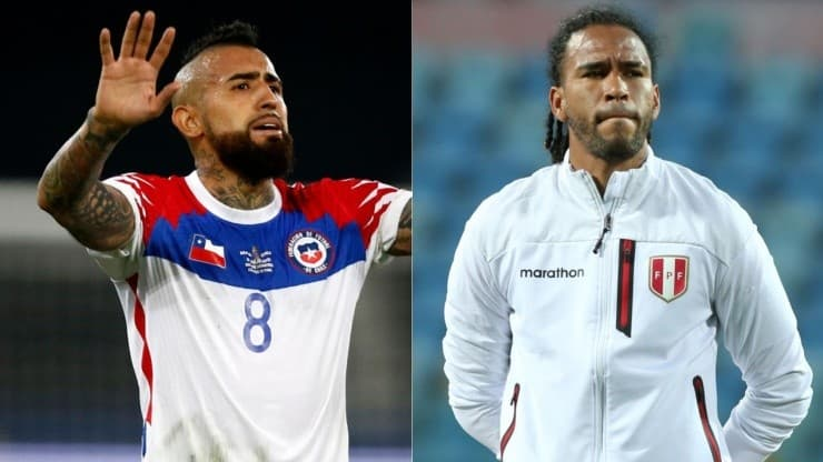 Arturo Vidal from Chile (left) and Pedro Gallese from Peru