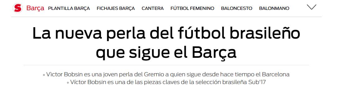 Bobsin, el otro brasilero que sigue Barcelona | BolaVip