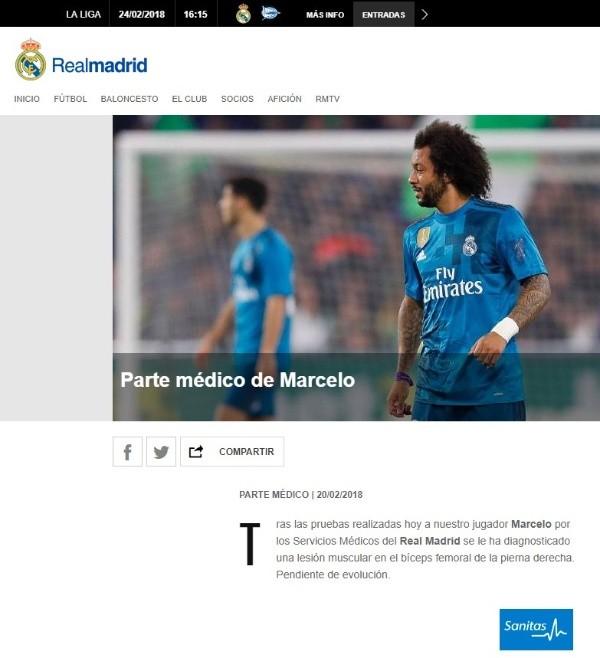 Marcelo y Modric presentan una lesión muscular en el femoral derecho