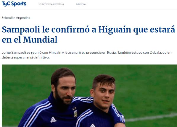 Sampaoli confirmó a Higuaín para el Mundial