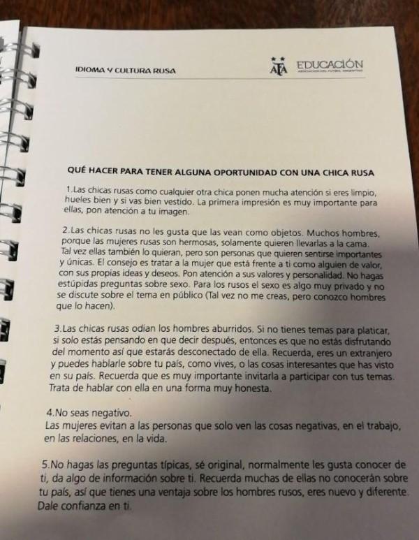AFA distribuyó un manual con polémicos consejos para seducir mujeres rusas