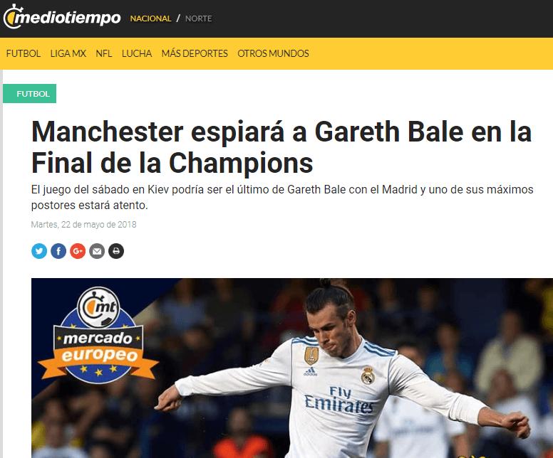 El Manchester United espiará a Gareth Bale en la final de la Champions League