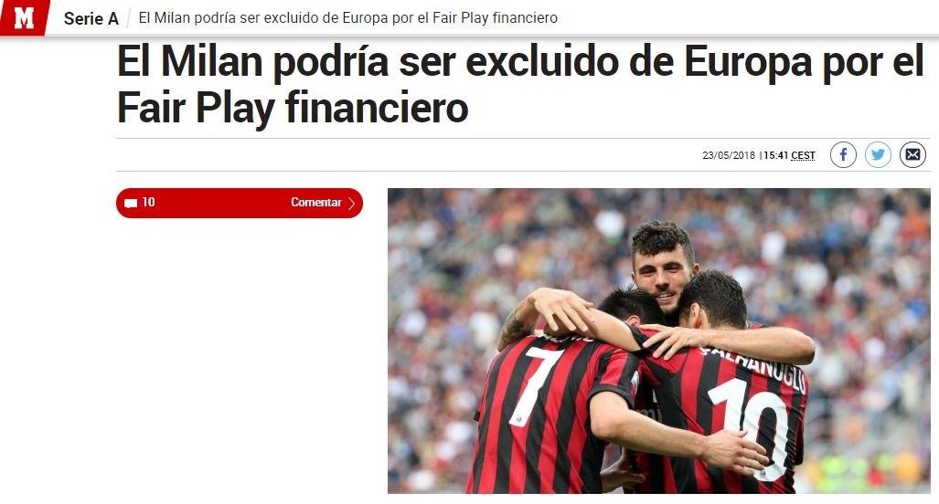Posible Expulsión del Milan de Europa