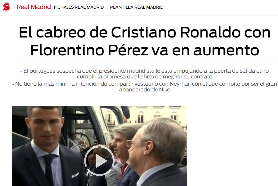 Cristiano Ronaldo se va del Real Madrid este verano, asegura diario portugués