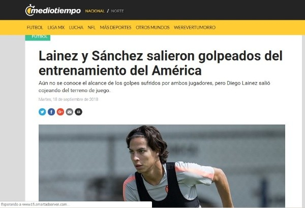 Accidentado entrenamiento del América