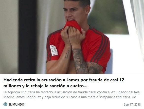 El fisco español retira la acusación de fraude contra James Rodríguez (prensa)