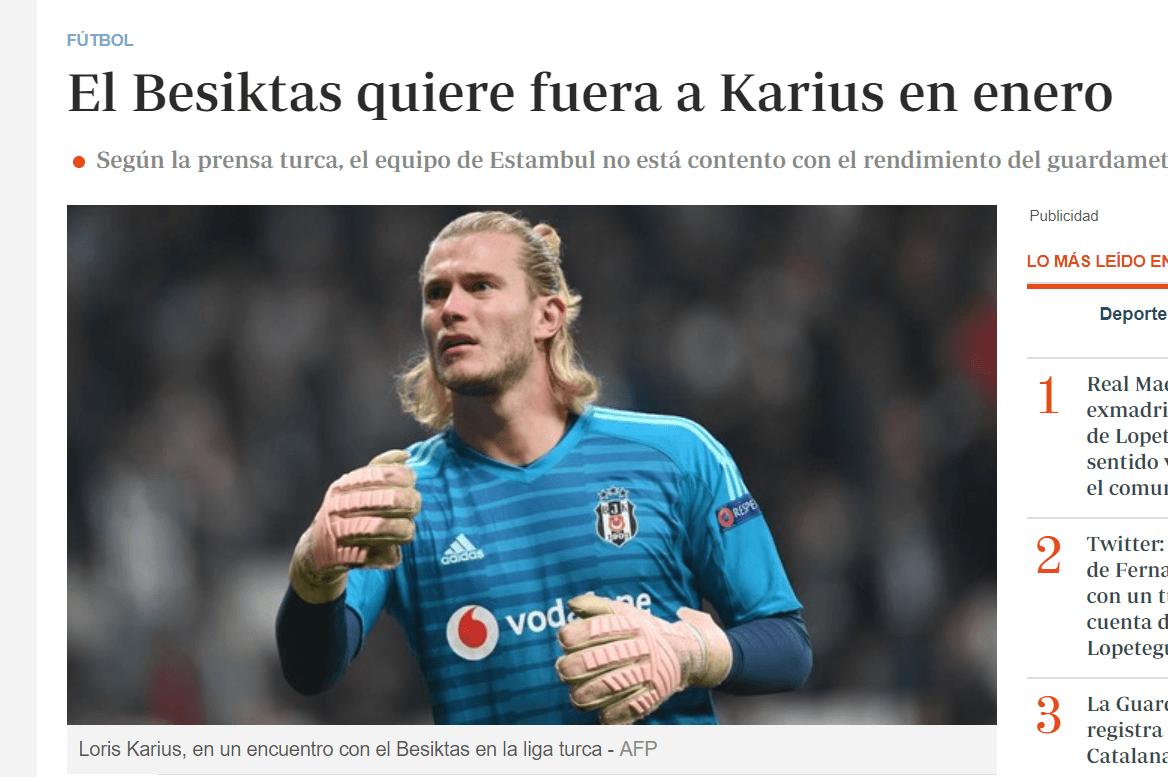Besiktas quiere devolver a Karius al Liverpool